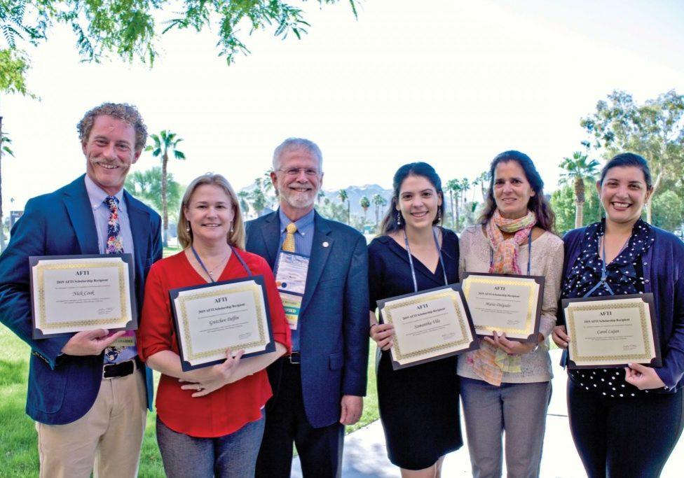 (From Left) 2019 AFTI scholarship recipients Nick Cook, Gretchen Delfin, AFTI President Geoff Koby, Samantha Vila, Maria Delgado, and Carol Lujan