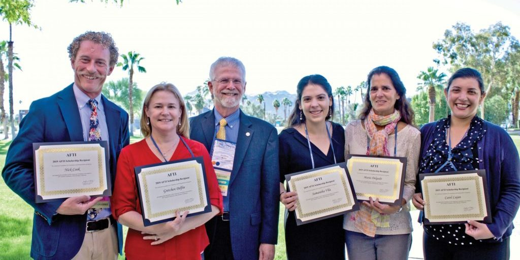 (From Left) 2019 AFTI scholarship recipients Nick Cook, Gretchen Delfin, AFTI President Geoff Koby, Samantha Vila, Maria Delgado, and Carol Lujan