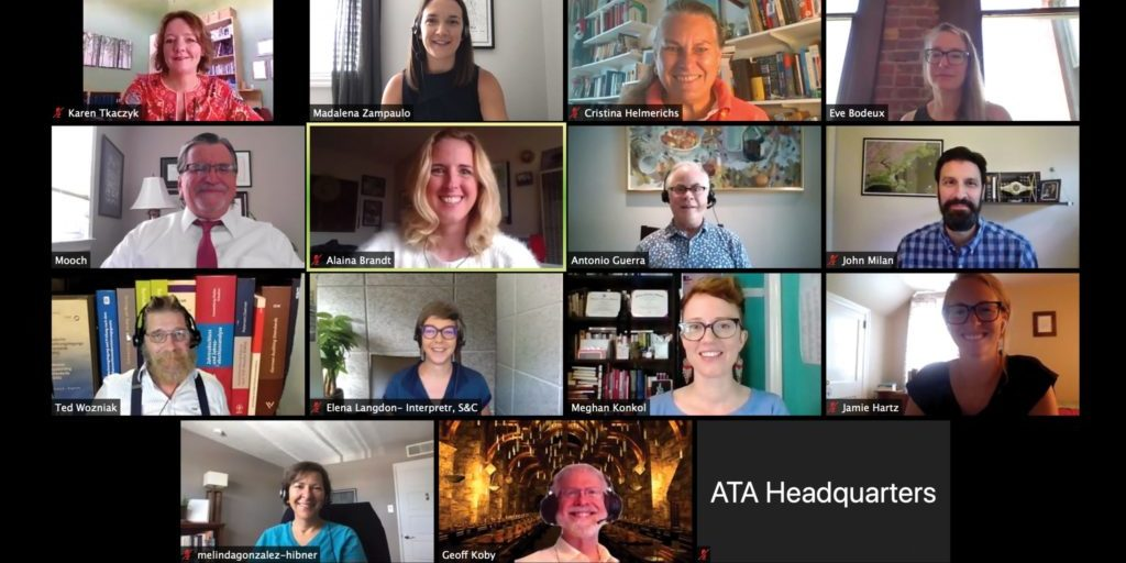 ATA Board of Directors 2019-2020 (left to right) Top Row: Secretary Karen Tkaczyk, President-Elect Madalena Sánchez Zampaulo, Director Cristina Helmerichs, Director Eve Bodeux. Second Row: Executive Director Walter Bacak, Director Alaina Brandt, Director Tony Guerra, Treasurer John Milan. Third Row: President Ted Wozniak, Director Elena Langdon, Director Meghan Konkol, Director Jamie Hartz. Fourth Row: Director Melinda Gonzalez-Hibner, Director Geoff Koby.
