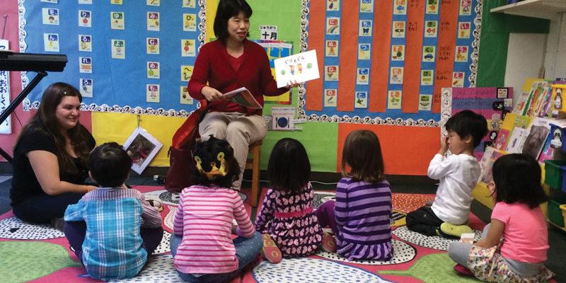 Rika Mitrik speaking to preschoolers at the WEE Center in Rockville, Maryland.